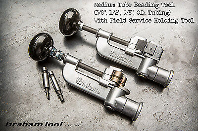 """Tube Beading Tool 3/8"""", 1/2"""", 5/8"""" with Field Service Tube Holding Tool, USA"""