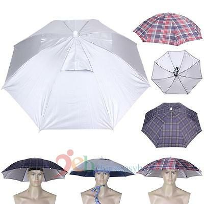 Novelty Hands Free Umbrella Crazy Hat Cap Outdoor Sunshade Foldable Head Cover
