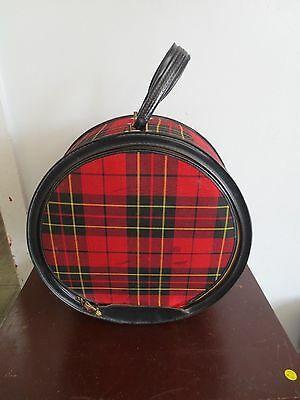 Vintage Round Red Plaid Atlantic Products Hat Box Luggage