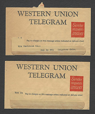 Lot of 2 Vintage 1941 Western Union Telegrams & Envelopes