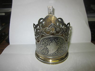 Vintage Soviet Russian Solid Silver 875 Kubachi Niello Glass Cup Holder