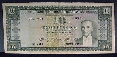 1930 (24.3.1958) Turkey 10 Lira Bank Note Circulated    ** FREE U.S. SHIPPING **