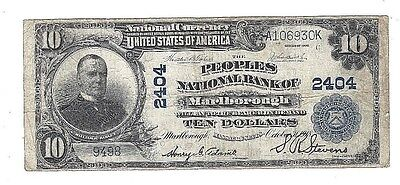 "$10 1902 Plain Back ""the Peoples Nat'l Bank Of Marlbourgh,mass. Charter#2404"