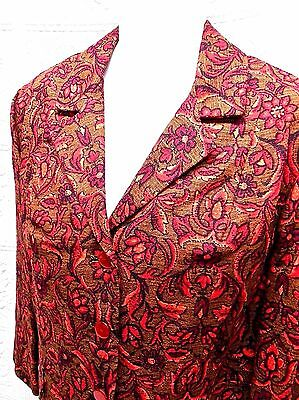 Nwt 60's Vintage Shapely Little Suit-Jacket-Skirt Set-Russet Cotton Print-13/14