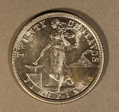 1929 Philippines 20 Centavos Silver Nice Grade        ** FREE U.S. SHIPPING **
