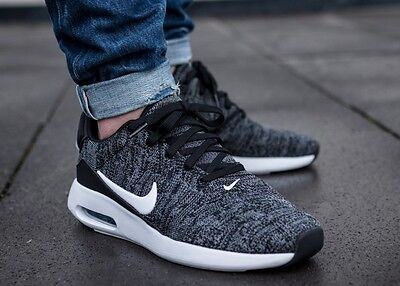 New NIKE Air Max Modern Flyknit Men's Sneakers black/white/gray  size 8 & 10