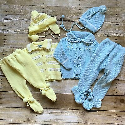 Lot of 2 Boys Girls Vintage Acrylic Baby Outfits Sweater Pants Size 3 6 9 months