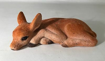 Vintage Charls Prod Flocked Deer Figurine Figure Bambi Fawn Doe Realistic Animal