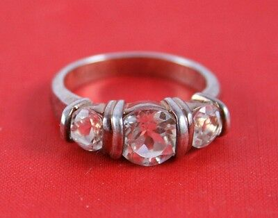 Sterling Silver 925 Stamped JC Cubic Zirconia Stones Trio Ring Size 6 B44