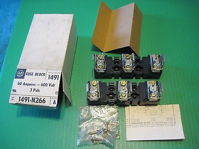 A-B , 2 fuse blocks in 1 box Allen Bradley 1491-N266 series A 60 amp 600 volt
