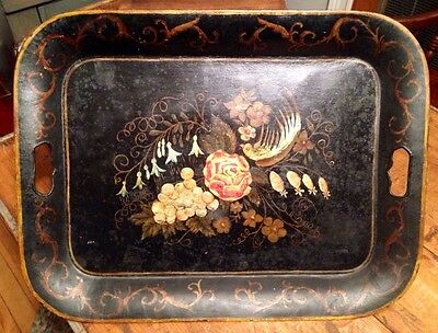 Vintage Signed M.l. Jackson 1946 Hand Painted Metal Toleware Tray Bird Flowers