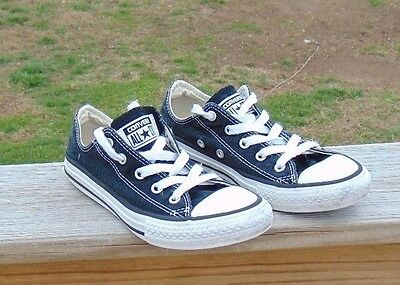 Boys Girls Converse All Star Low Canvas Black Sneakers Size 1