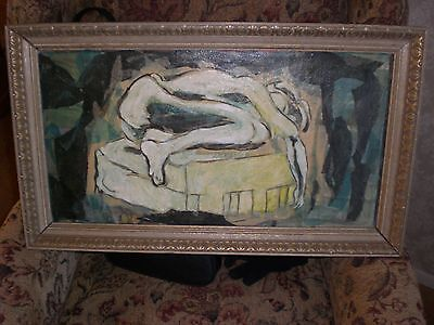 MID CENTURY ORIGINAL EXPRESSIONIST NUDE OIL PAINTING/ ABSTRACT/Signed FREEMAN
