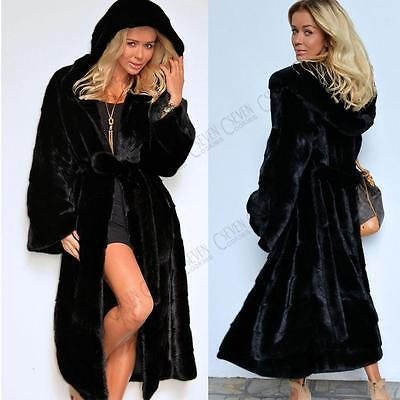 Womens Ladies Fur Parka Black Winter Coat Warm Thick Long Jackets Hooded Outdoor
