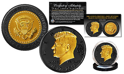 John F. Kennedy 100th BDAY BLACK RUTHENIUM & 24K GOLD Clad Official JFK100 Coin