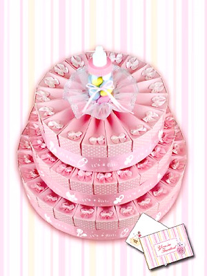Baby Shower Favor Cake Kit (3 Tier with Invites, Pink) New