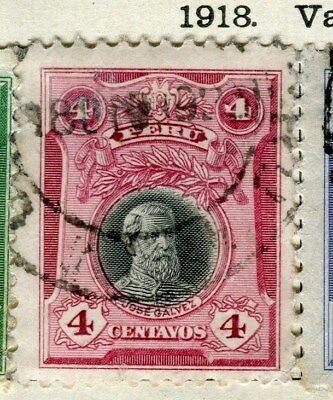 PERU;  1918 early Portrait issue fine used 4c. value