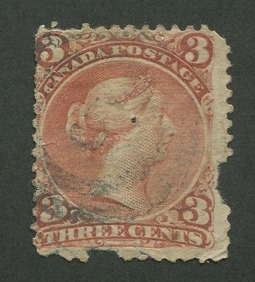 """Canada #25 Used Large Queen 2-Ring Numeral Cancel """"5"""""""