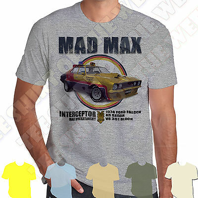 Mad Max MFP Interceptor Ford Falcon XB GT T-shirt 100% Cotton 7 cols to choose