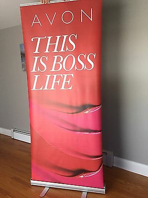 """AVON """"This Is Boss Life"""" Retractable Roll Up Banner w/stand - Vendor Show"""