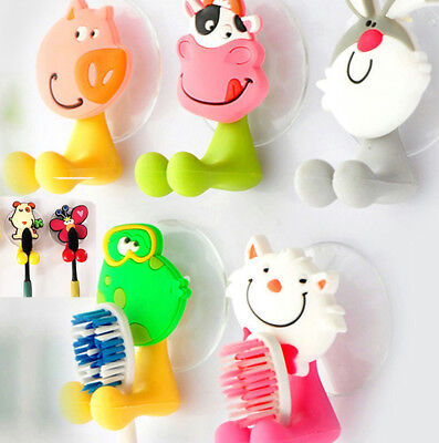 Cartoon Animal Toothbrush Holder Wall Mount Sucker Bathroom Suction Cup Set Kids