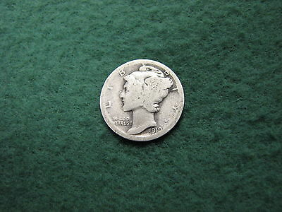 1919 United States Mercury Dime - Date is Clear  90% Silver 10 Cents Coin