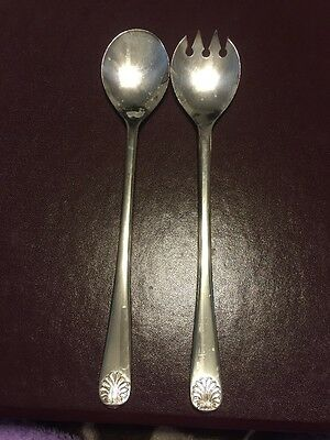 W.A. Italy Silver plated Fork Spoon Serving Set Shell Pattern 9""