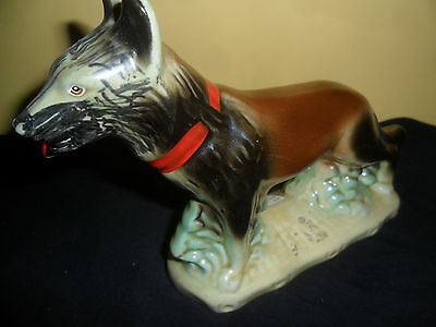 Glazed Pottery German Shepherd Dog VINTAGE German Shepard Dog FIGURE  FREE SHIP