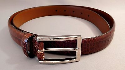 Italian Brown Leather Reptile Embossed Men's Belt ~ Size 38 ~ Nwot