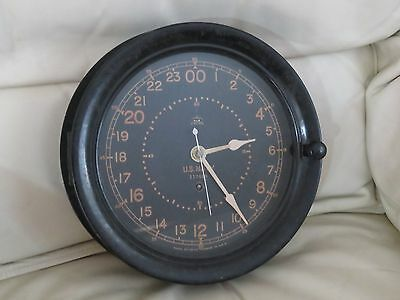 Seth Thomas Us Navy Ships Clock 24 Hr Dial Ww2
