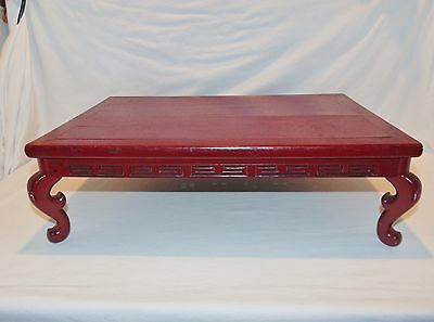 19th C. Chinese Red Lacquered Low Table / Stand , Peg Construction