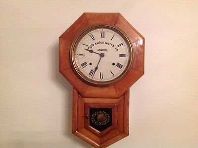 "Antique Drop Dial Chiming Wall Clock Admiral Anglo Swiss Watch Co. 19"" X 12"""