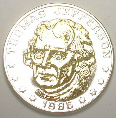 Thomas Jefferson 185th Anniversary Bimetal Eagle Medal Token Proof
