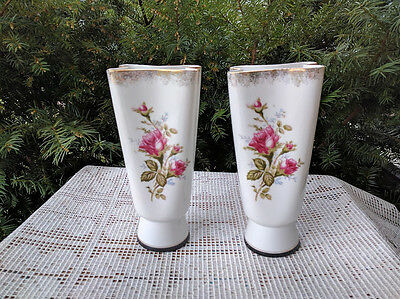 """Vintage Red roses porcelain vases set of 2 white with gold trim 8"""" tall"""
