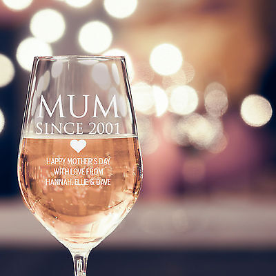 Engraved Mothers Day 360ml Wine Glass, Mum, Granda, First Mother's Day, Love