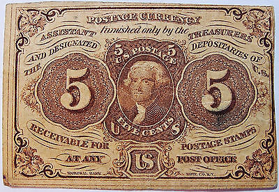 1862-1863 5 Cents Fractional / Postage Currency Note - First Issue