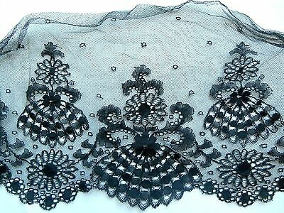 "antique Black Delicate Chantilly Lace trim, salvage 8"" x 1yd"