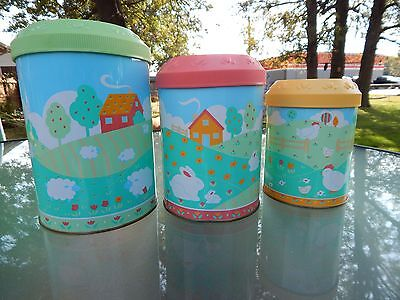3 Avon Country Calico Nesting Canisters - Baby Nursery Children's Room  Storage