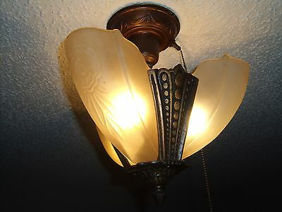 Antique Slip Shade Ceiling Lamp 3 shades with Original Pull cord  ..super!!