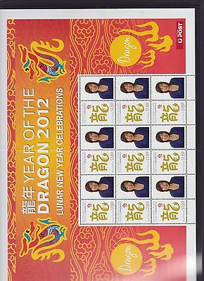 2012 Year Dragon Lunar New Year Stamp Sheetlet Australia Post Christmas Island *