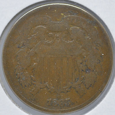 1865 2C Two Cent Piece Type Coin Circulated