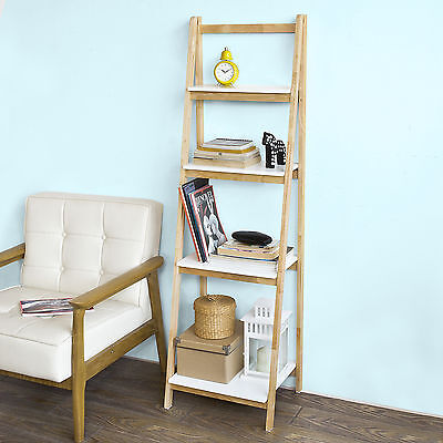 SoBuy® 4 Tiers Folding Ladder Wall Shelf,Storage Display Rack Unit, FRG162-N,UK