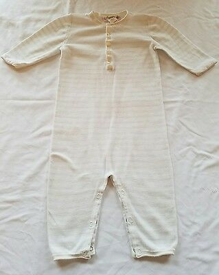 Bonpoint~Pale Blue & White Stiped All-In-One Romper~Sz 12mos~EUC!