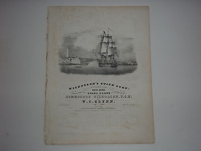 Early American Historic 1844 printed Sheet Music  NICHOLSON'S QUICK STEP