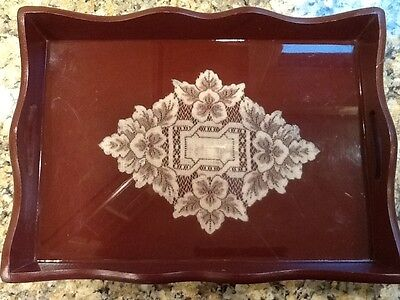 Early Americana style Laminated old lace Antique tea tray