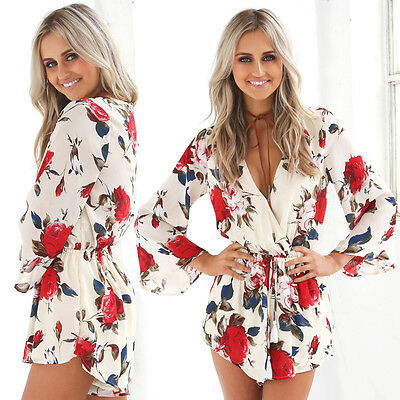 USA Women Summer Jumpsuit Long Sleeve V-Neck Playsuit Party Romper Trousers