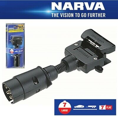 Narva Trailer Adaptor 7 Pin Large Round Socket on Car to 7 Pin Flat Plug on Trai