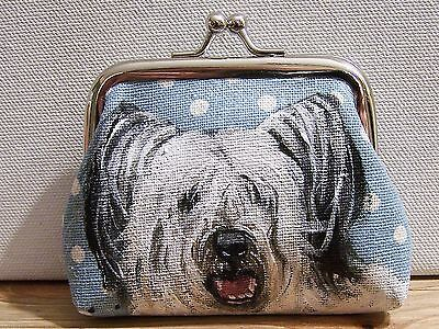 "Skye Terrier original art real brush painting change purse size  3""x4""x1"""