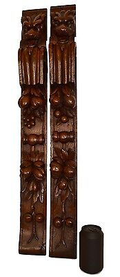 French Antique Pair of Carved Oak Wood Trim Posts Pillars Columns Architectural