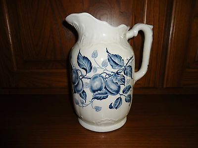 Large Vintage Old Blue and White Transferware Pitcher